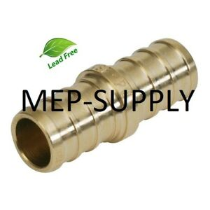 1 2 Pex Coupling Brass 1 2 Inch Crimp Coupler Fitting Lead Free Lot Of 10