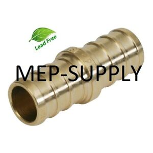 1 2 Pex Coupling Brass 1 2 Inch Crimp Coupler Fitting Lead Free Lot Of 100
