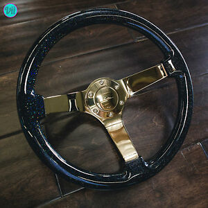 Viilante 3 Deep 6 hole Steering Wheel multi shimmer Gold Chrome Fits Nrg Hub