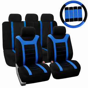 Car Seat Cover For Auto Full Set W steering Wheel Cover belt Pads 5heads Blue