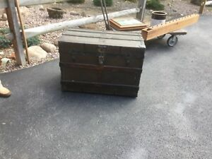 Antique Country Primitive Americana Wood Steamer Trunk Chest Flat