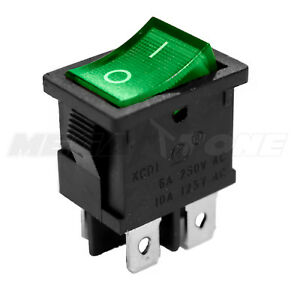 Dpst Kcd1 Mini Rocker Switch On off W green Lamp 6a 250vac T85 Usa Seller