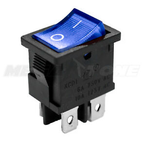 Dpst Kcd1 Mini Rocker Switch On off W blue Lamp 6a 250vac T85 Usa Seller