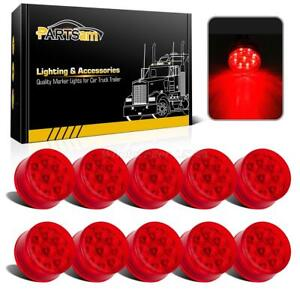10 9led Red 2 Round Sealed Side Reflector Clearance Marker Light Trailer Cab
