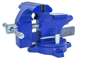 Heavy Duty Pipe Bench Vise For Home Shop Swivel Base Grips Steel Jaws Hand Tool