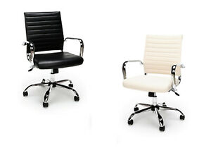 10 Modern Office Desk And Conference Chairs In Black And Off White Cream Leather