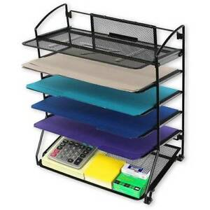 6 Trays Desktop Document Letter Tray Storage Organizer Home Holder Stable Tool