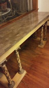 Large Vintage Fossil Stone Entry Table Credenza With Carved Column Legs