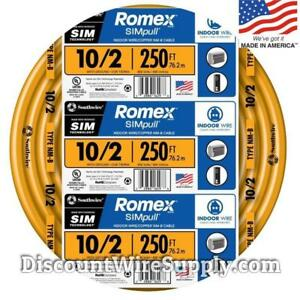 Romex 250ft 10 2 Gauge Simpull Nm b Indoor Copper Electrical Wire 10 2 Awg Roll