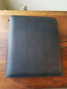 Franklin Covey Black Leather 3 ring Planner Binder Organizer 13 5 X 11 5 nwot