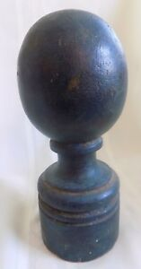 Antique Country Primitive Wood Newel Post 5 Early Blue Green Paint
