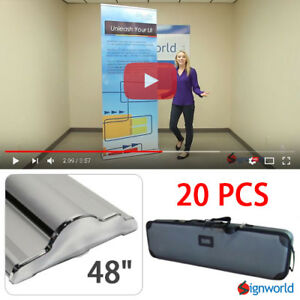 Retractable Roll Up Banner Stand Height Adjustable Display Sign Hd 48 20 Pcs