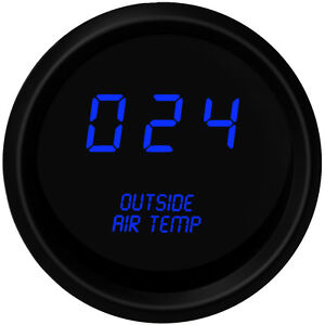 Digital Outside Air Temperature Gauge W Sender Blue Leds Black Bezel