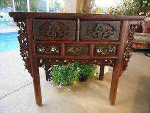 Antique Vintage Table Sideboard Console W Drawers Handcrafted Carved Wood