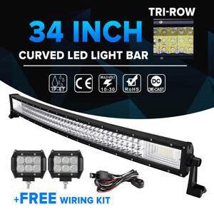 34inch 1944w Cree Curved Led Light Bar 2x18w Pods Combo Offroad 4wd Driving 32