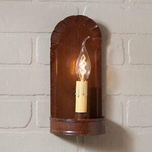 Fireplace Single Arm Wall Sconce In Rustic Tin By Irvin S Country Tinware