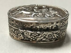 Sterling Silver Vinaigrette With Floral Design Repouss Scene To The Top