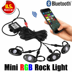 4 Pcs Rgb Led Multi color Rock Lights With Wireless Bluetooth For Offroad Atv