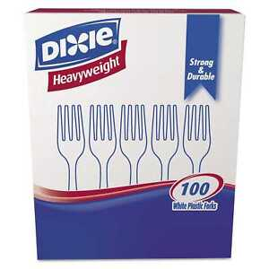 Dixie Plastic Cutlery Heavyweight Forks White 1000 Per Carton
