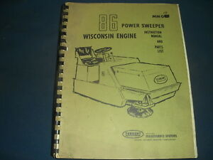 Tennant 86 Power Sweeper Instruction Maintenance Parts Manual Book Catalog