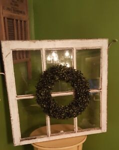 Architectural Salvage 6 Pane Wood Window Sash Frame Antique 28x29 With Wreath