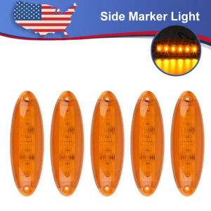 5x Top Clearance Cab Marker Amber Led Light For Freightliner Cascadia Heavy Duty