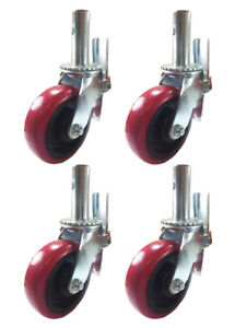 4 Pcs Scaffold Caster 6 X 2 Red Pu Wheel Locking Brake 1 3 8 Stem 3600 Lbs