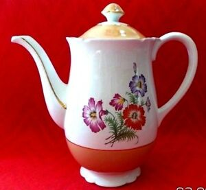 Vintage K G Luneville French Stamped Porcelain Chocolate Pot Coffee Pot Teapot