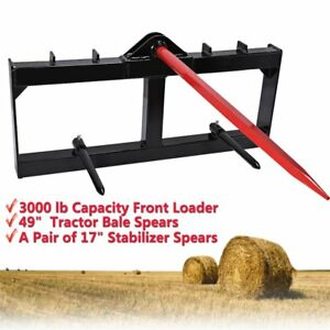 49 Tractor Hay Bale Spear Attachment 3000 Lb Spike Skid Steer Quick Tach Bobcat