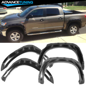 For 07 13 Toyota Tundra Pocket Style Extended Fender Flare Smooth Abs Black