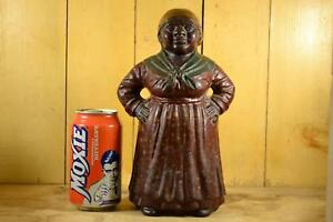 Rare Antique Hubley Door Stop Mammy Black Americana Aunt Jemima Cast Iron Statue