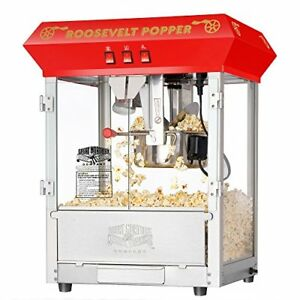 Popcorn Machine Red Antique Style Vintage Roosevelt Stainless Steel Construction