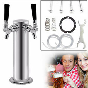 Double Taps Stainlesssteel Draft Beer Tower Bar Home Brew Kegerator Chrome Fauct
