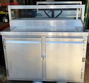 48 Sushi Display Case With Refrigerated Work Top Ss Slide Top Clean Hps 48