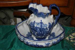 Large Ironstone Pottery Blue White Water Pitcher Bowl Victorian Scenes