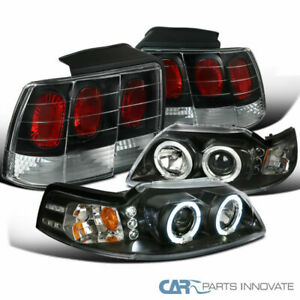 Ford 99 04 Mustang Black Led Halo Projector Headlights tail Brake Parking Lamps
