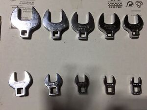 Snap on 10 pc 3 8 drive Sae Open End Crowfoot wrench Set