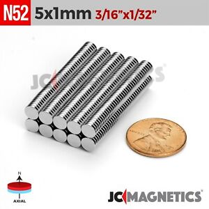 25 100 1000pcs 5mm X 1mm 3 16 x1 32 N52 Rare Earth Neodymium Small Magnet Disc