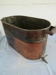 Vintage Copper Pot Boiler Wash Tub With Spigot Antique Primitive 23