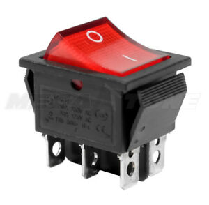 Dpdt On on Rocker Switch W red Neon Lamp Kcd2 16a 250vac Usa Seller