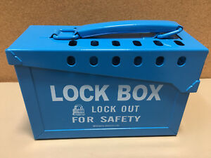 Brady Group Safety Lockout Lock Box Heavy Duty Steel 45190 Blue