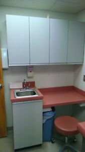 Doctor Exam Room Setup In Mauve sink Cabinet Wall Cabinets Desktop Stool