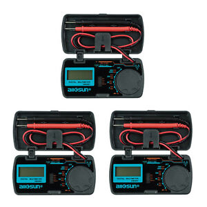 3 Pcs Portable Digital Multimeter Auto Tester Ac Dc Dmm Ohm Diode Continuity Lcd