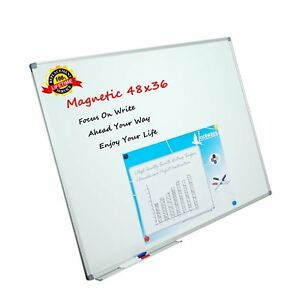 Lockways White Board Dry Erase Board 48 X 36 Magnetic Whiteboard 4 X 3 Sil