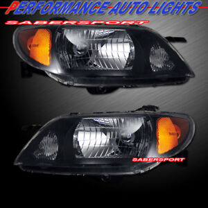 Set Of Pair Oe Style Black Headlights For 2001 2003 Mazda Protege 4dr Sedan