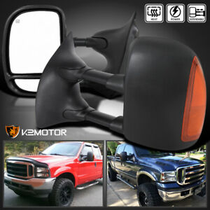 99 07 F250 F350 F450 F550 Superduty Led Signal Power heated Tow Mirrors Pair