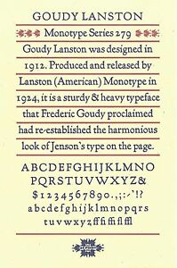 New Letterpress Type 24pt Goudy Lanston Capitals