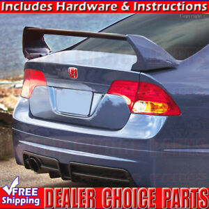2006 2011 Honda Civic 4dr 3 Piece Mugen Style Spoiler Rear Trunk Wing Unpainted