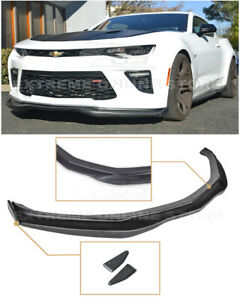 For 16 Up Camaro Ss T6 Style Front Bumper Lip W Carbon Fiber Side Splitters
