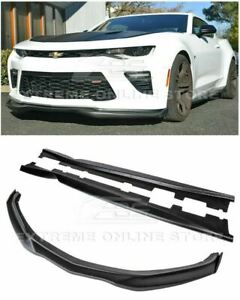 For 16 Up Camaro Ss Front Bumper Lip Carbon Fiber Side Winglets W Side Skirts